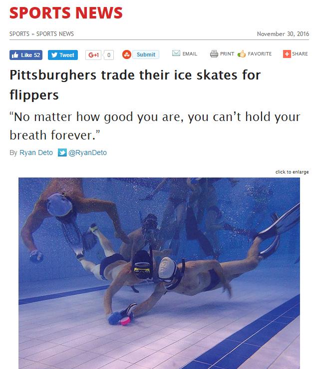 News coverage of Underwater Hockey in Pittsburgh