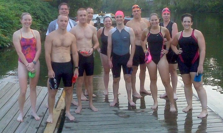 Swimmers on the rowing dock