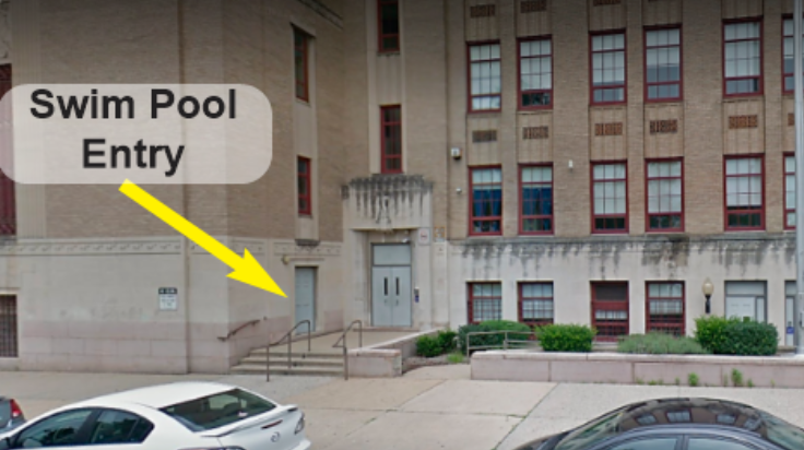 Arrow points to the door to the swim pool on Arch Street