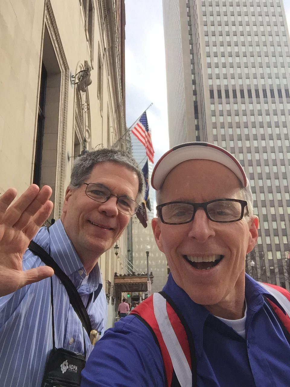 Mark, Kevin, Downrown, flag, selfie
