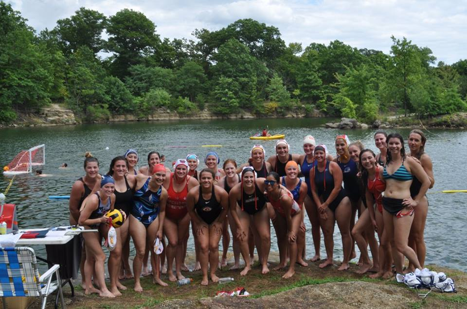 Water polo in the open water at the quarry.