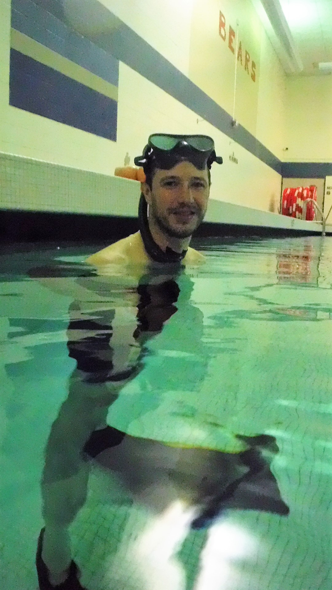 Underwater hockey player at Oliver HS pool.