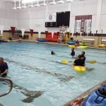 Kayaks in the pool at Uniontown High School.