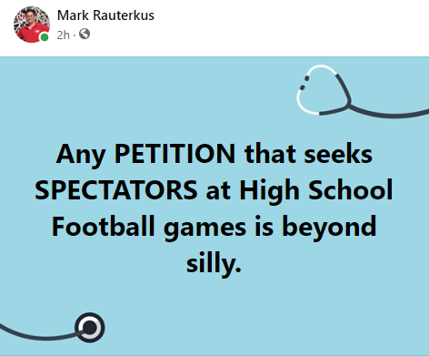 Petition for HS sports spectators is silly