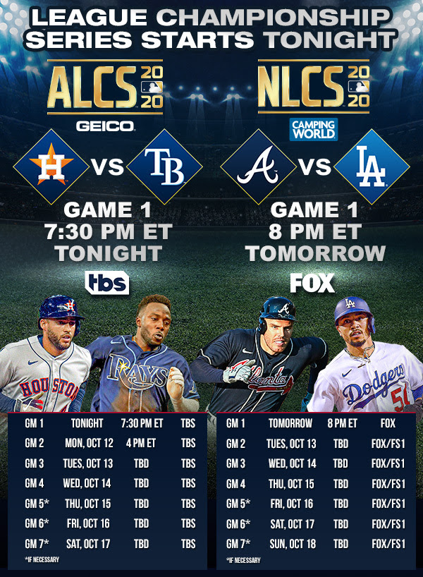 MLB ALCS and NLCS schedule