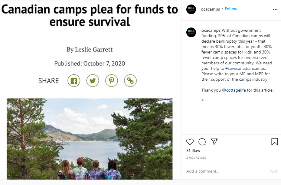 Call to support camps in Canada