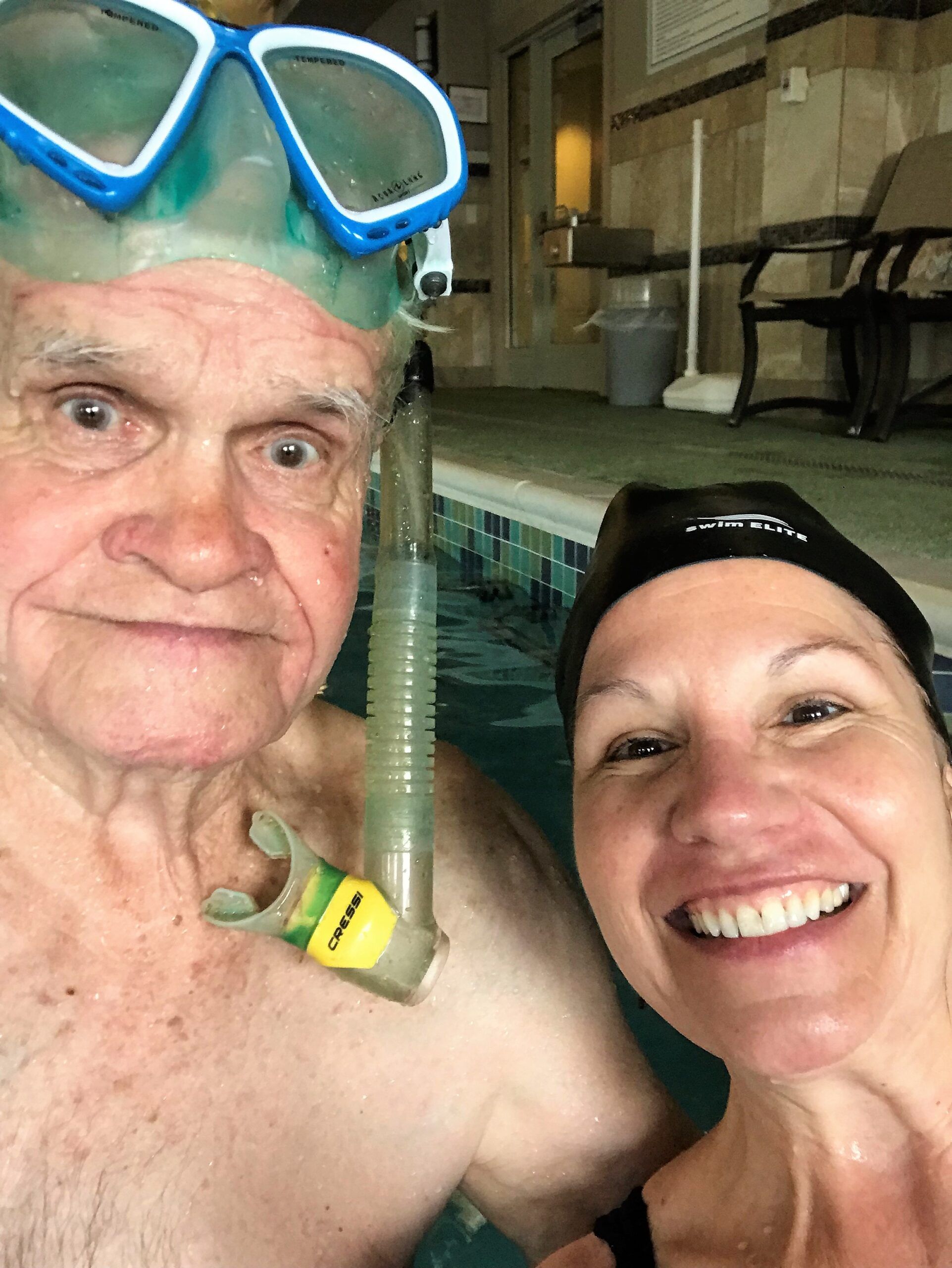 Leo Rauterkus and daughter, Pinky, at the pool in the senior home