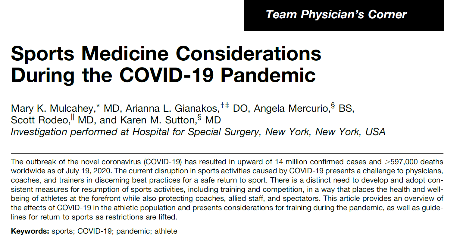 Sports Science article about Covid, splash