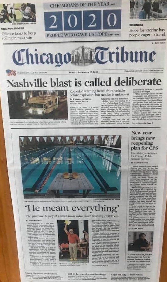 Cover of Chicago Tribune covering Tom's passing