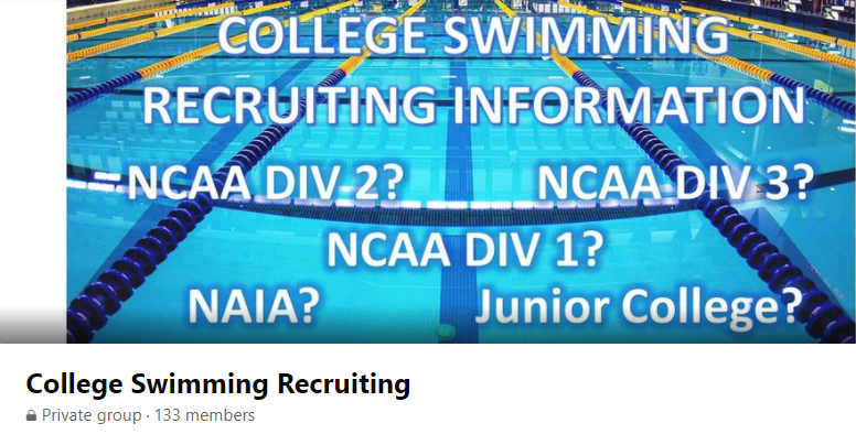 Facebook group about college swim recruiting