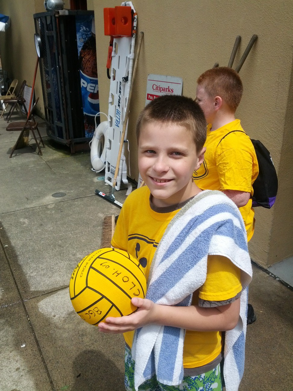 Water polo player with ball!